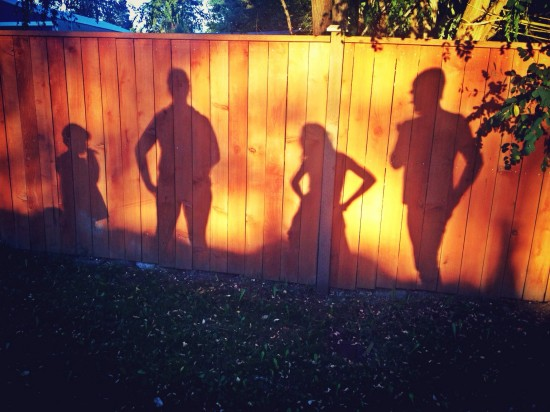 My family on a walk recently.  I think this is our best shadow portrait ever.  :)